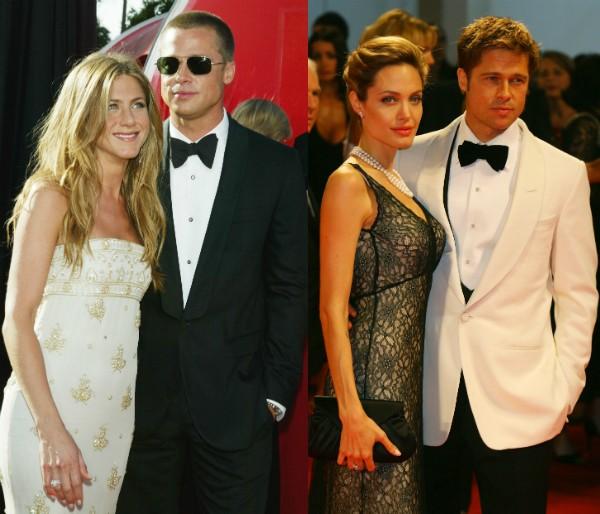 Jennifer Aniston e Angelina Jolie com o ex, Brad Pitt (Foto: Getty Images)