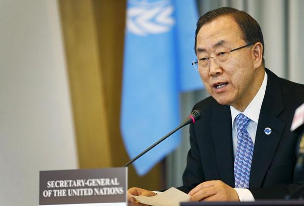 Ban Ki-moon, secretário-geral da ONU, em foto desta segunda-feira (8) (Foto: Michael Kooren/Reuters)