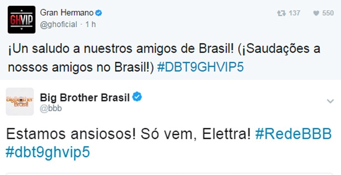 Twitter do Gran Hermano interage com o do Big Brother Brasil (Foto: Reprodução: internet)