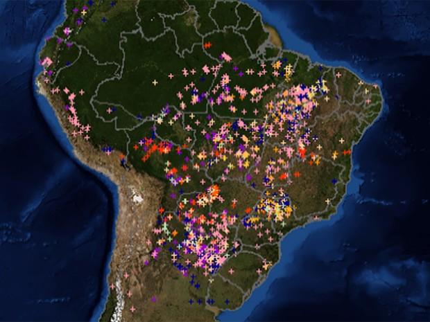 Mapa mostra número de focos de queimadas no Brasil e na América do Sul (Foto: Inpe/Divulgação)