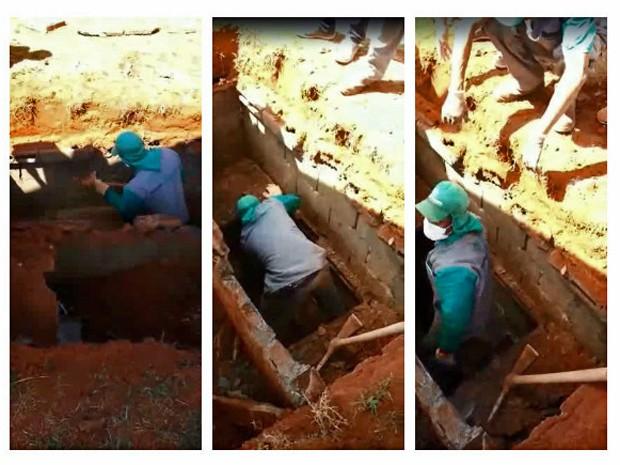 Coveiro do cemitério Campo da Esperança de Taguatinga tenta identificar corpo em cova (Foto: Faerisson Lima Souza/Arquivo Pessoal)