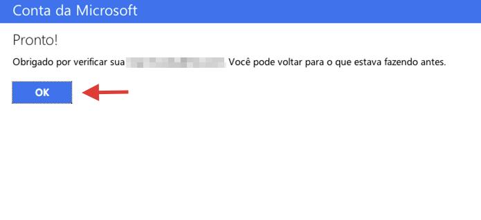 Mensagem de verificação concluída de uma conta de serviços da Microsoft (Foto: Reprodução/Marvin Costa)