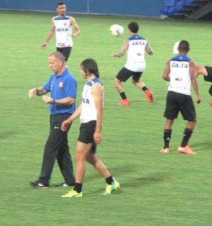 Mano Menezes e Angel Romero, Treino Corinthians (Foto: Rodrigo Faber)