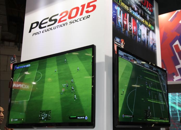 Versão de PES 2015 na BGS 2014 tem times nacionais com jogadores genéricos (Foto: Diego Borges / TechTudo)
