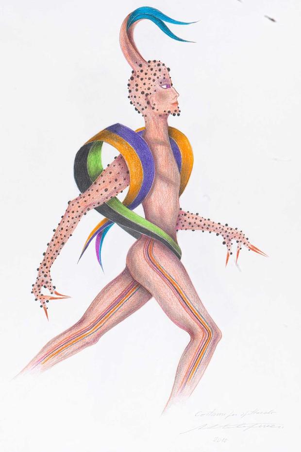 """""""Thiriambo"""", costume drawing by Roberto Capucci (Foto: ROBERTO CAPUCCI)"""