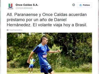 Daniel Hernández; Atlético-PR; Once Caldas (Foto: Reprodução/Twitter do Once Caldas)