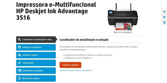 Suporte técnico online da HP é personalizado para o modelo (Foto: Reprodução/HP)