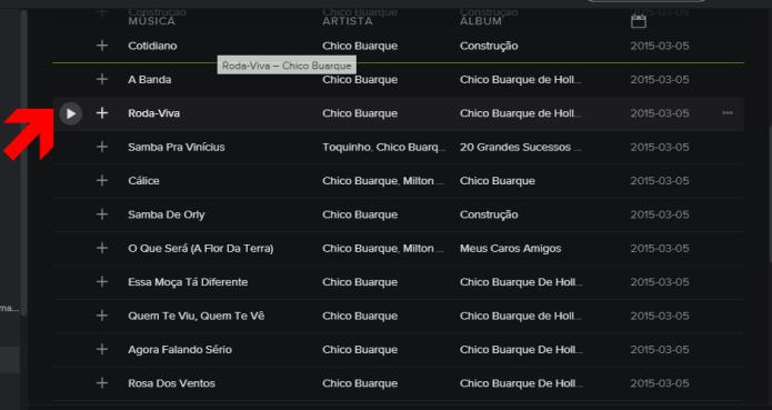 Mudando a posição da faixa na playlist (Foto: Reprodução/Lívia Dâmaso)