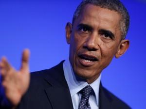 Barack Obama fala nesta sexta (5) em reunião da Otan, no País de Gales (Foto: Charles Dharapak/AP)