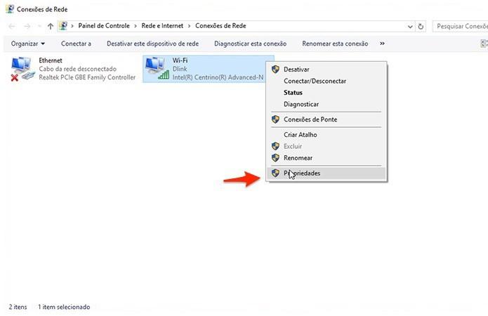 Acessando a tela de propriedades do adaptador de rede (Foto: Reprodução/Alessandro Junior)