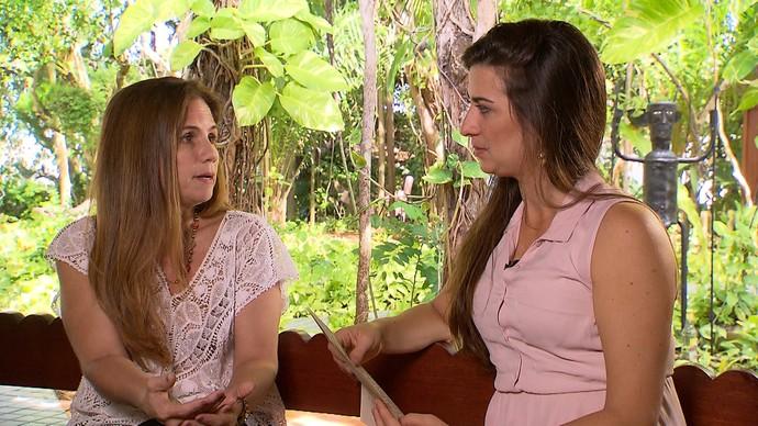 Maria João, neta de Zélia e Jorge, em conversa com a atriz Luisa Proserpio (Foto: TV Bahia)