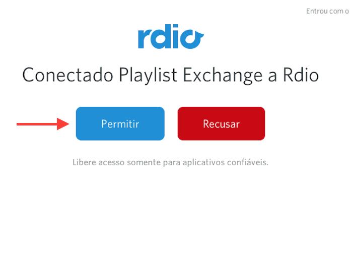 Permitindo que o Playlist Exchance se conecte ao Rdio (Foto: Reprodução/Marvin Costa)