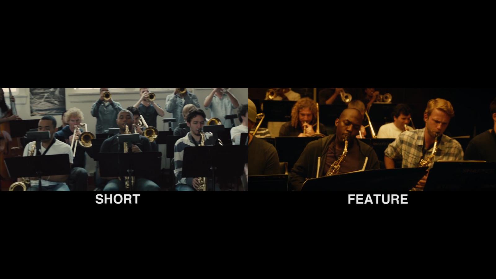 Frame de vídeo que compara curta e longa de 'Whiplash' (Foto: Reprodução/Vimeo)