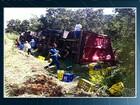 Condutor tenta desviar de buraco e carreta tomba na BR-153, em Goiás