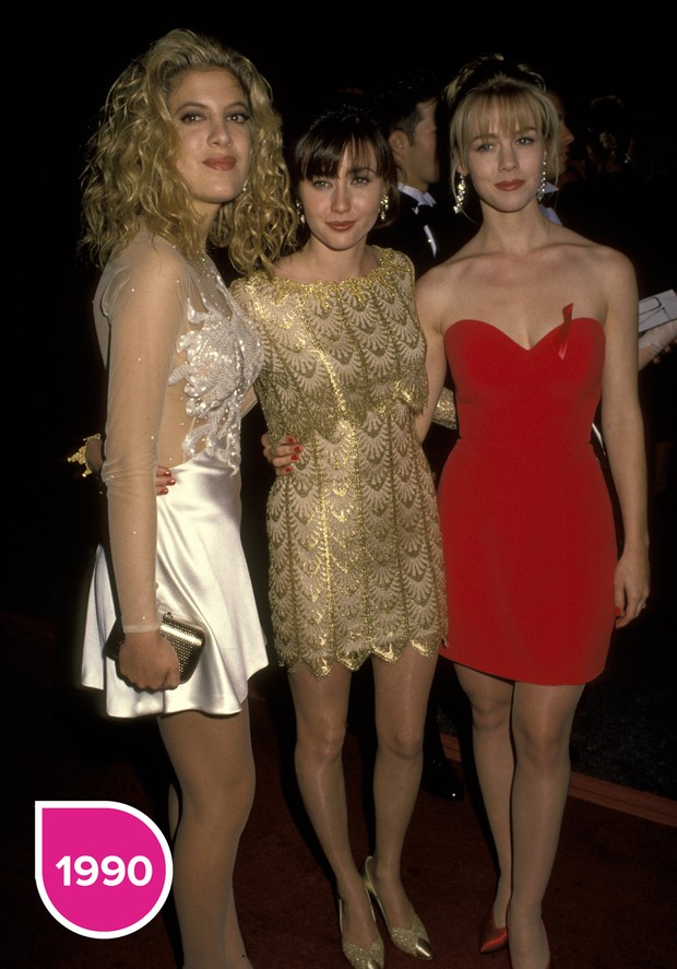 Tori Spelling, Shannen Doherty e Jennie Garth 1990 (Foto: Getty Images)