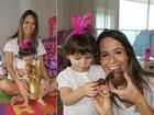 Tradição de família! Fernanda Pontes fantasia a filha de coelhinha na Páscoa