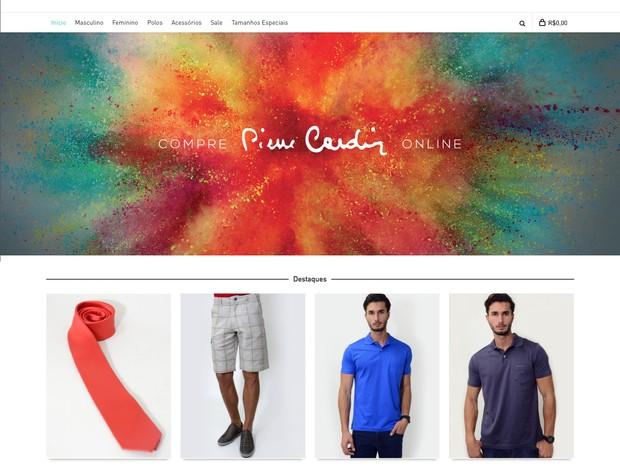 Visual do novo e-commerce da Pierre Cardin no Brasil (Foto: Divulgação)