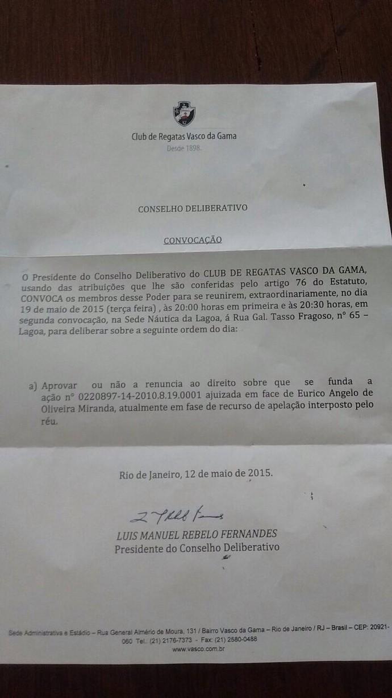 Convocação do Conselho Deliberativo do Vasco (Foto: Raphael Zarko)