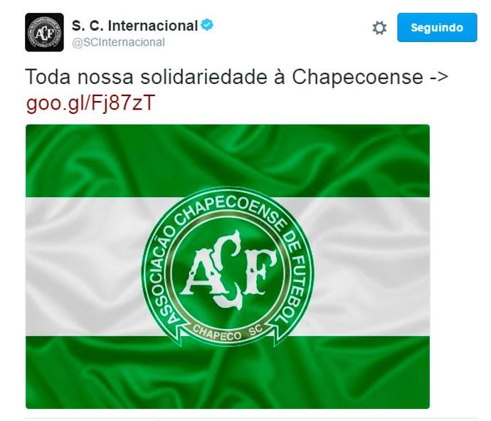 Twitter Inter acidente Chapecoense (Foto: Reprodução)