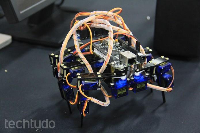 Módulos de Arduino criam robôs como a 'aranha metálica' é controlada pelo celular (Foto: Renato Bazan/TechTudo)