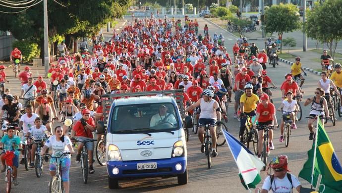 Atividade incentiva o uso da bicleta como hábito saudável (Foto: Sesc-RR)