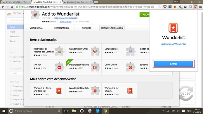 Usuário deve entrar com conta do Wunderlist para que extensão funcione (Foto: Reprodução/Elson de Souza)