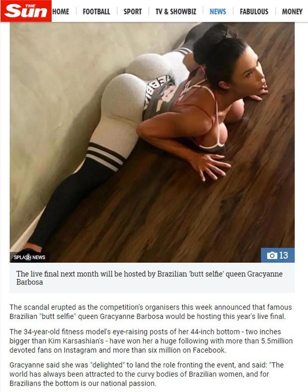 Gracyanne Barbosa em matéria do tabloide britânico 'The Sun' (Foto: Reprodução)