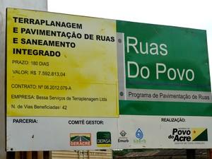 Programa 'Ruas do Povo' é o programa que promete pavimentar todas as ruas do estado (Foto: Amanda Borges/G1)