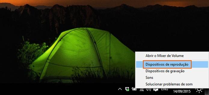Acesse as configurações dos dispositivos de reprodução no Windows 10 (Foto: Reprodução/Barbara Mannara)