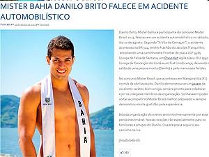 Mister Bahia morre em acidente na BR-324 (Foto: Reprodução site Mister Brasil)