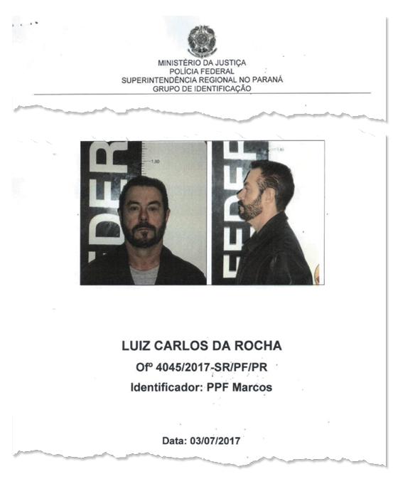 Documento da polícia do traficante Luiz Carlos da Rocha (Foto: Reprodução )