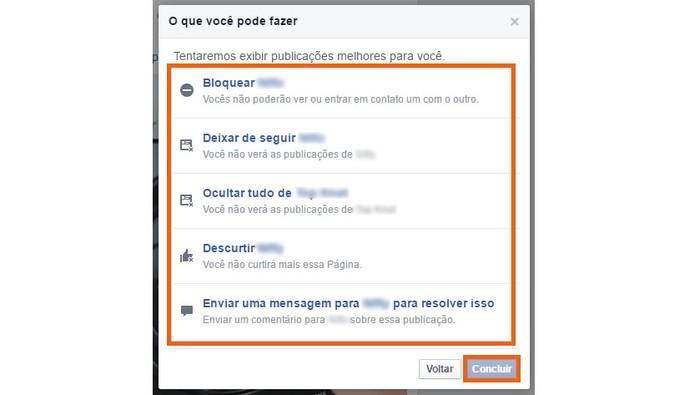 Selecione uma ação para não ver o post no Facebook (Foto: Reprodução/Barbara Mannara)