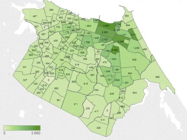 Bairros destacados com a cor verde mais escura têm rendimentos maiores e ficam na Regional 2 (Foto: Prefeitura de Fortaleza/Reprodução)