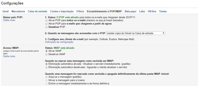 Gmail permite sincronizar contas de outros clientes de e-mail via POP e IMAP (Foto: Reprodução/Juliana Pixinine)
