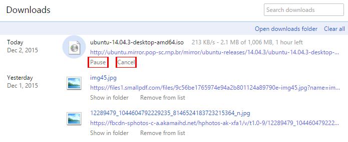 Downloads podem ser pausados no Chrome (Foto: Reprodução/Chrome)
