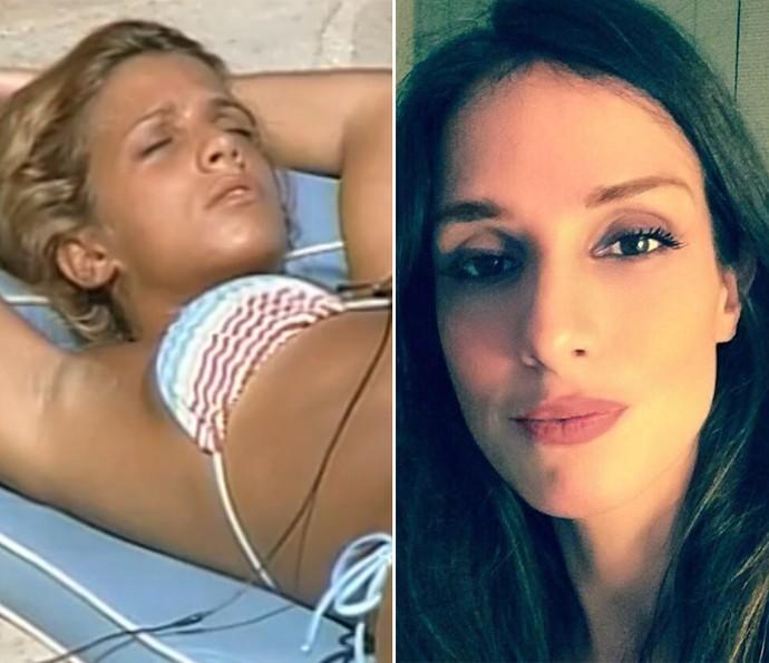 Manuela mudou de visual e está com as madeixas mais escuras (Foto: Tv Globo e Reprodução da Internet)