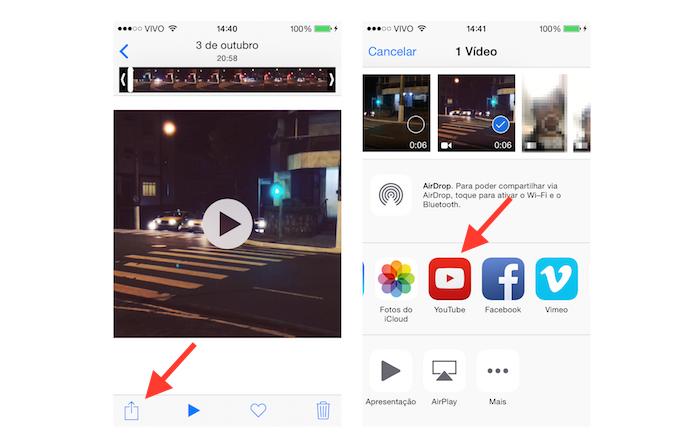 Iniciando o processo para publicar um vídeo salvo na biblioteca do iOS no YouTube (Foto: Reprodução/Marvin Costa)