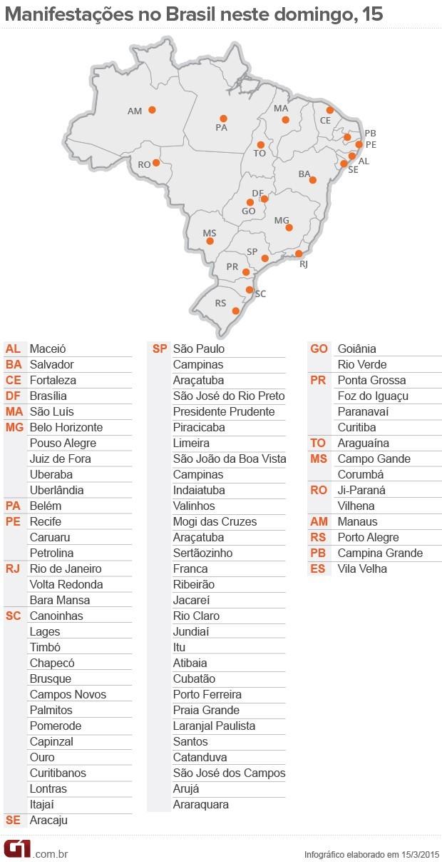 Mapa dos protestos