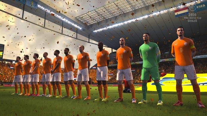 Van Persie, Robben e a seleção holandesa no novo estádio do Corinthians (Foto: Divulgação)