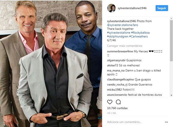 Stallone junto de Dolph Lundgren e Carl Weathers (Foto: Reprodução instagram)