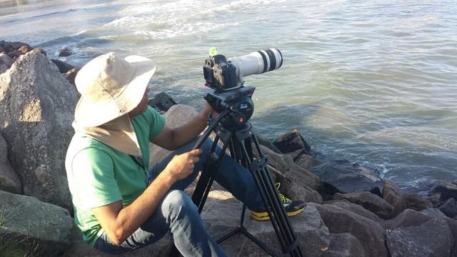 Gustavo M. durante a gravação do curta-metragem (Foto: Arquivo Pessoal)