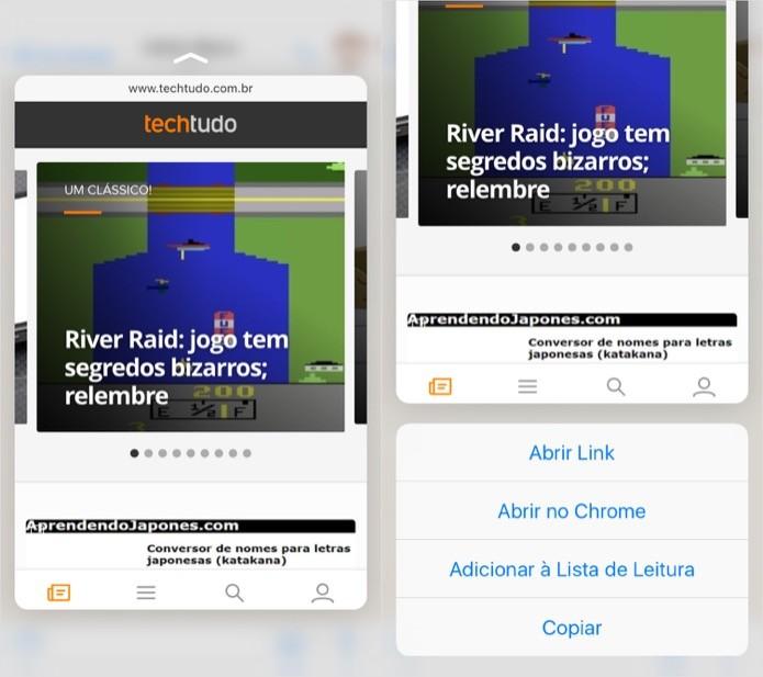 Pré-visualizando links recebidos (Foto: Reprodução/Helito Bijora)