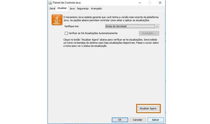 Botão do Java permite Update manual (Foto: Reprodução/Barbara Mannara)