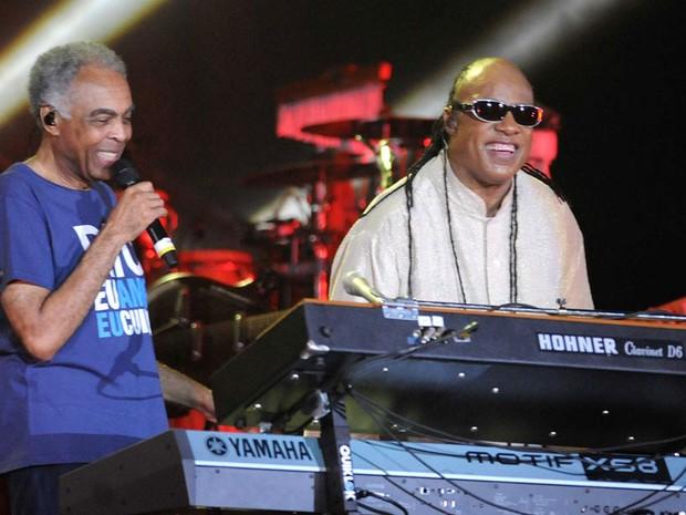 Gil e Stevie Wonder cantaram por mais de 4h em show gratuito na Praia de Copacabana (Foto: Alexandre Durão/ G1)