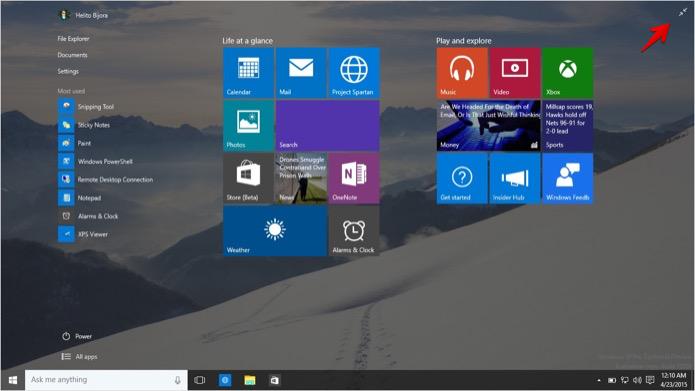 Colocando o menu Iniciar do Windows 10 em modo padrão (Foto: Reprodução/Helito Bijora)