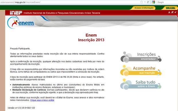 """Site do Enem apresentava a frase """"Inscrições encerradas"""" (no alto, à direita) (Foto: Reprodução)"""