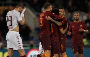 Roma engata a quinta, goleia o Torino e volta para a vice-liderança do Italiano