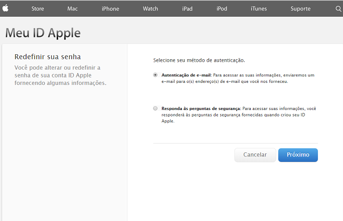 Preencha corretamente os campos solicitados para recuperar seu ID Apple (Foto: Reprodução/Thiago Barros)