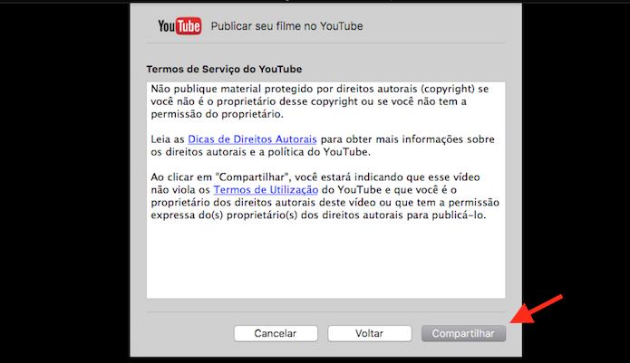 Compartilhando no YouTube um vídeo através do Quicktime do Mac OS (Foto: Reprodução/Marvin Costa)
