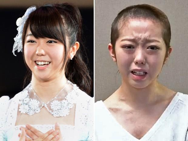 À esquerda, Minami Minegishi em foto de junho de 2012, e, à direita, em imagem de quinta-feira (31), em vídeo  (Foto: AFP/Toshifumi Kitamura e AFP/AKB48/YouTube)